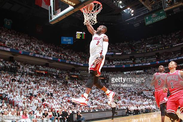 Dwyane Wade of the Miami Heat dunks against the Chicago Bulls during Game Four of the Eastern Conference Finals in the 2011 NBA Playoffs on May 24...