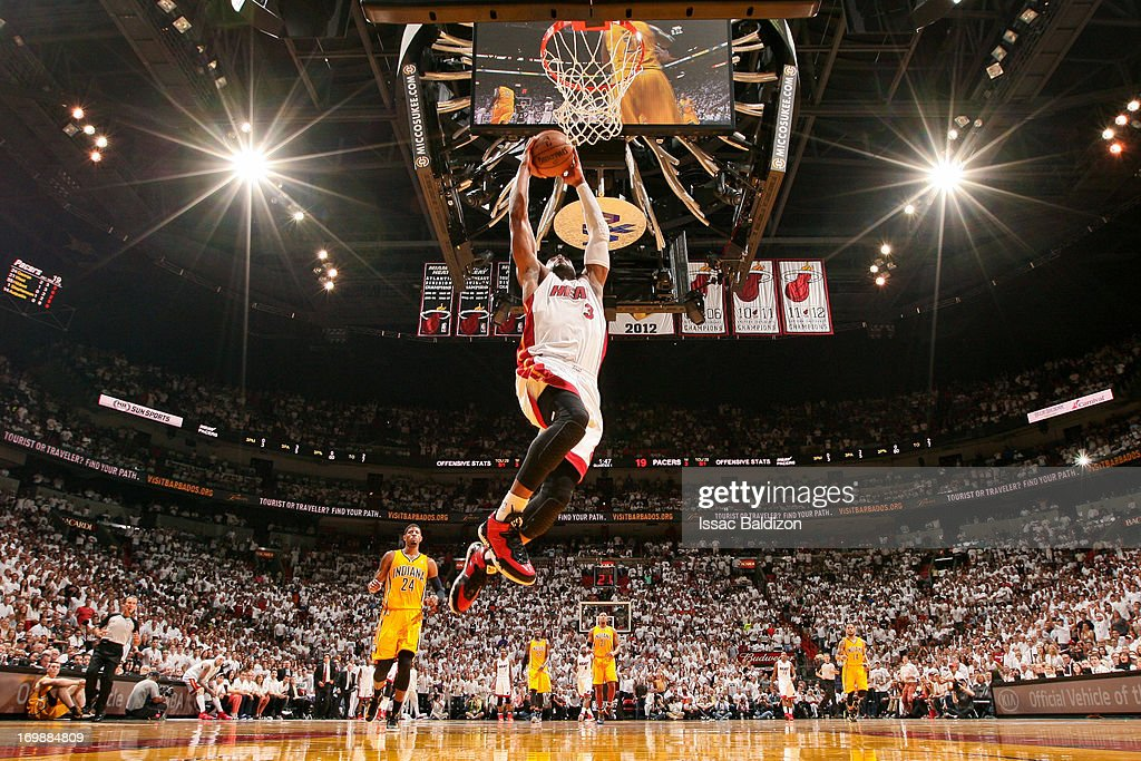 <a gi-track='captionPersonalityLinkClicked' href=/galleries/search?phrase=Dwyane+Wade&family=editorial&specificpeople=201481 ng-click='$event.stopPropagation()'>Dwyane Wade</a> #3 of the Miami Heat dunks on a fast break against the Indiana Pacers in Game Seven of the Eastern Conference Finals during the 2013 NBA Playoffs on June 3, 2013 at American Airlines Arena in Miami, Florida.