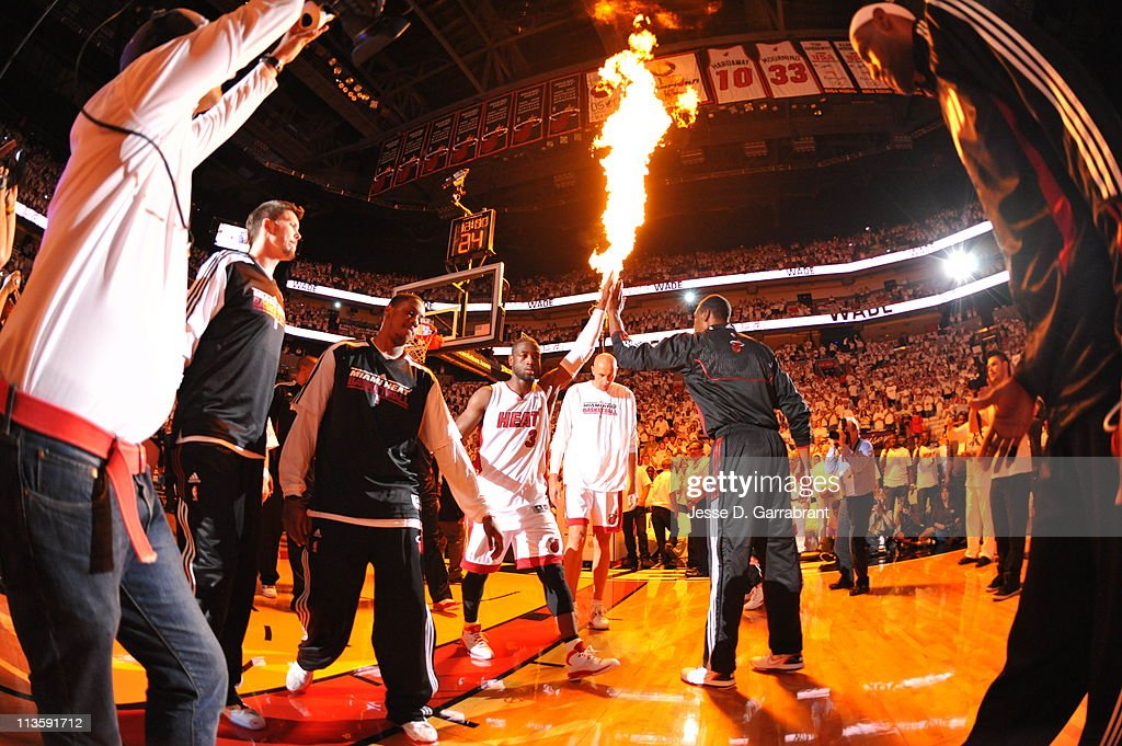 Dwyane Wade #3 of the Miami Heat during pre-game introductions before taking on the Boston Celtics in Game Two of the Eastern Conference Semifinals in the 2011 NBA Playoffs on May 3, 2011 at the American Airlines Arena in Miami, Florida.