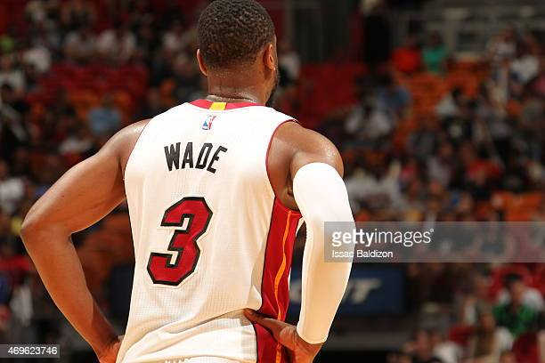 Dwyane Wade of the Miami Heat during the game against the Orlando Magic on April 13 2015 at American Airlines Arena in Miami Florida NOTE TO USER...