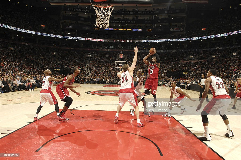 Dwyane Wade #3 of the Miami Heat goes to the basket during the game between the Toronto Raptors and the Miami Heat during the game on February 3, 2013 at the Air Canada Centre in Toronto, Ontario, Canada.