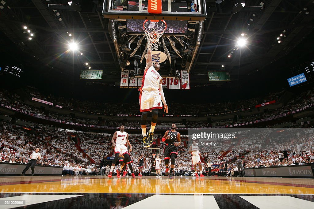 Dwyane Wade #3 of the Miami Heat goes up for a dunk against the Toronto Raptors in Game Four of the Eastern Conference Semifinals during the 2016 NBA Playoffs on May 9, 2016 at American Airlines Arena in Miami, Florida.