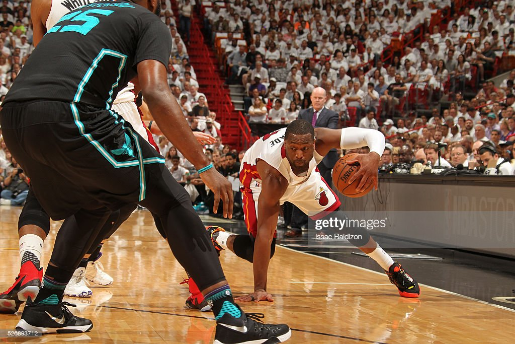 Dwyane Wade #3 of the Miami Heat handles the ball against the Charlotte Hornets in Game Seven of the Eastern Conference Quarterfinals during the 2016 NBA Playoffs on May 1, 2016 at American Airlines Arena in Miami, Florida.