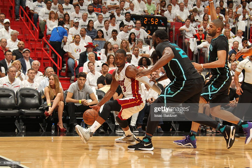 <a gi-track='captionPersonalityLinkClicked' href=/galleries/search?phrase=Dwyane+Wade&family=editorial&specificpeople=201481 ng-click='$event.stopPropagation()'>Dwyane Wade</a> #3 of the Miami Heat handles the ball against the Charlotte Hornets in Game Seven of the Eastern Conference Quarterfinals during the 2016 NBA Playoffs on May 1, 2016 at American Airlines Arena in Miami, Florida.