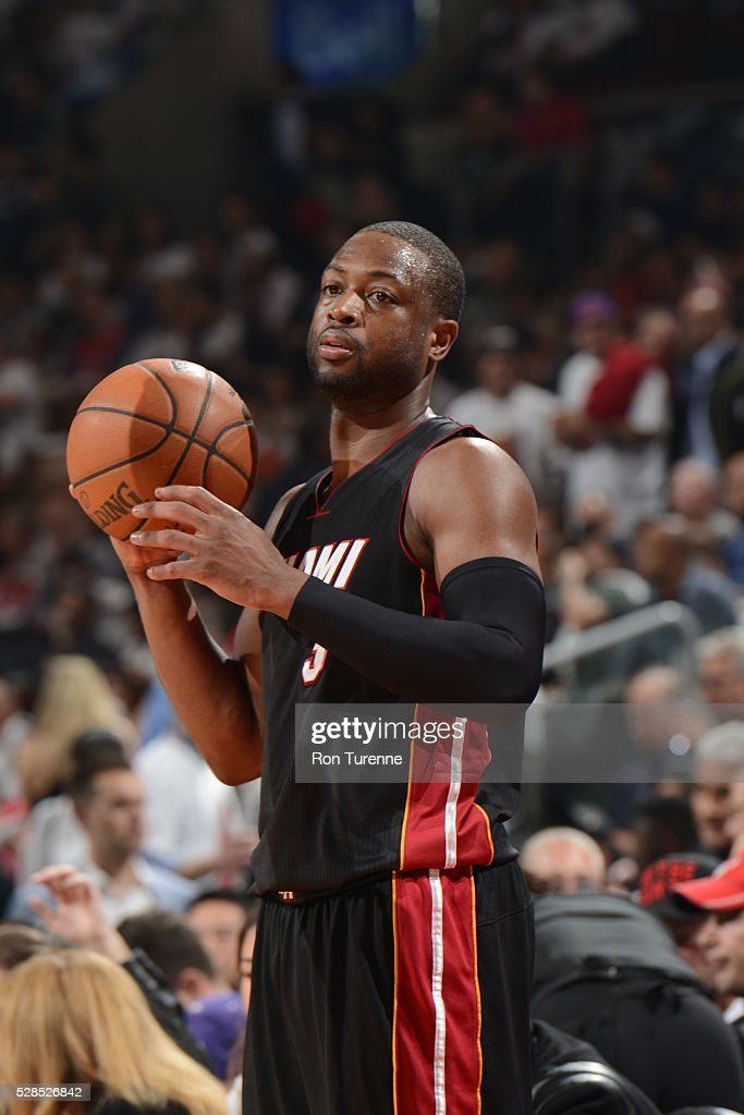 <a gi-track='captionPersonalityLinkClicked' href=/galleries/search?phrase=Dwyane+Wade&family=editorial&specificpeople=201481 ng-click='$event.stopPropagation()'>Dwyane Wade</a> #3 of the Miami Heat handles the ball against the Toronto Raptors in Game Two of the Eastern Conference Semifinals on May 5, 2016 at the Air Canada Centre in Toronto, Ontario, Canada.