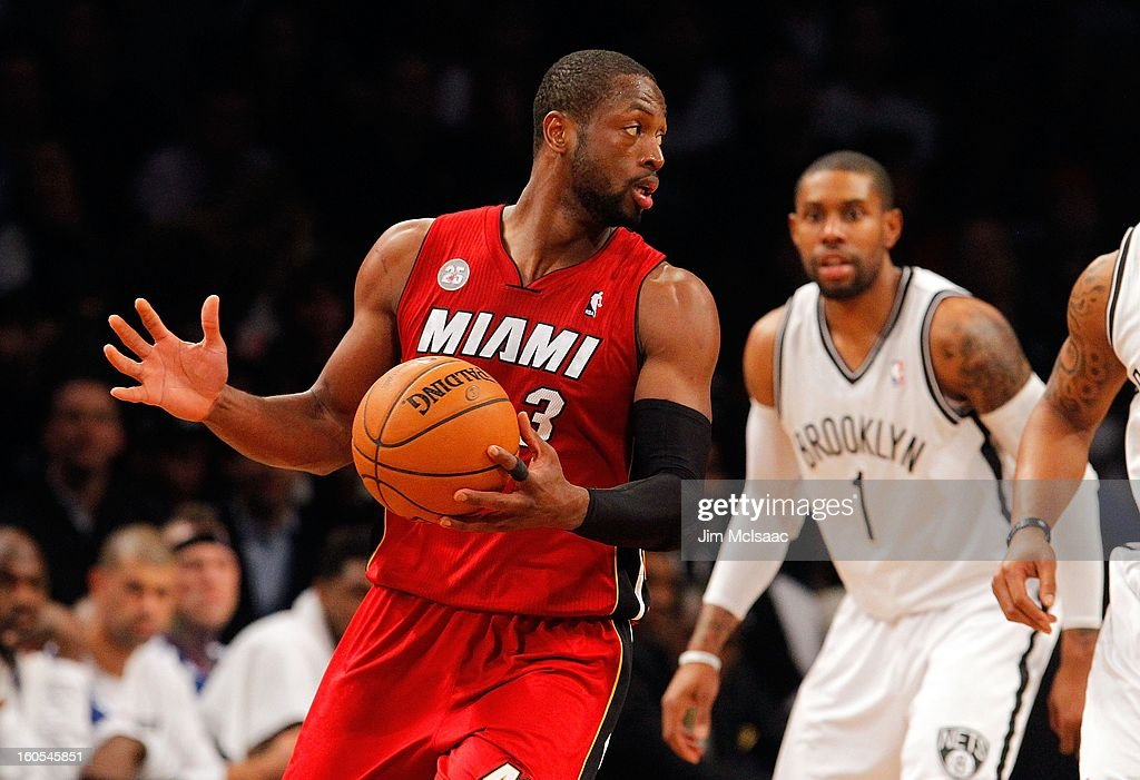 Dwyane Wade #3 of the Miami Heat in action against the Brooklyn Nets at Barclays Center on January 30, 2013 in the Brooklyn borough of New York City.The Heat defeated the Nets 105-85.
