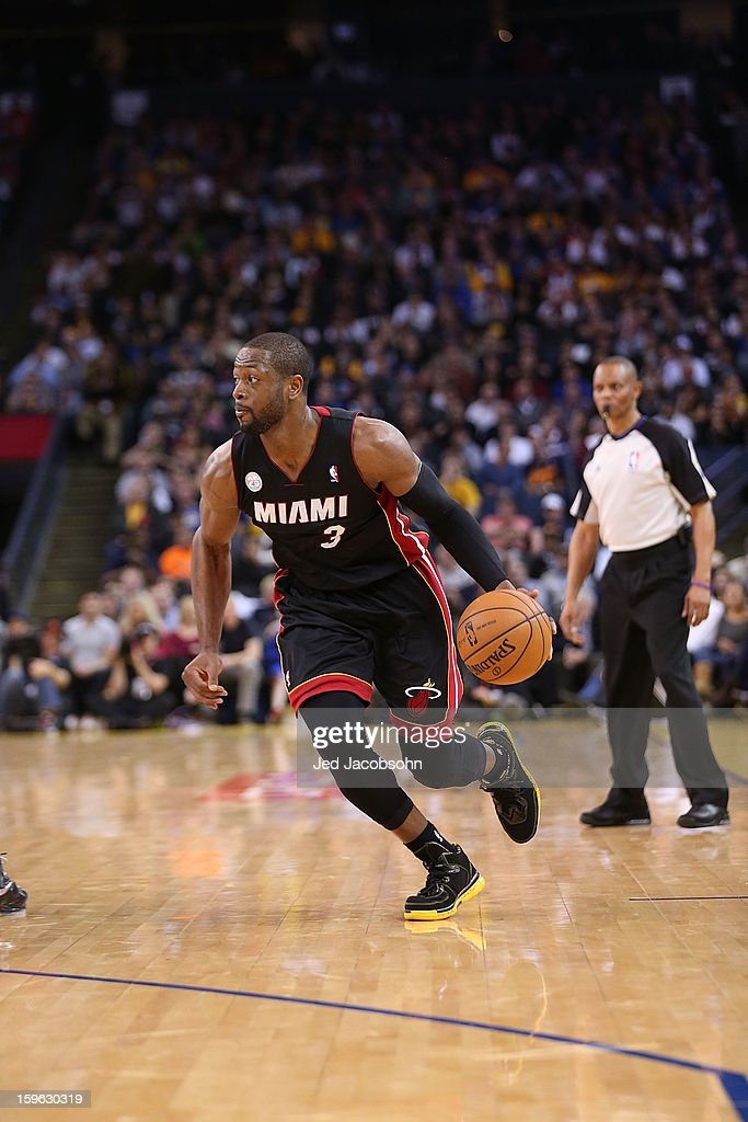 Dwyane Wade #3 of the Miami Heat in action against the Golden State Warriors on January 16, 2013 at Oracle Arena in Oakland, California.