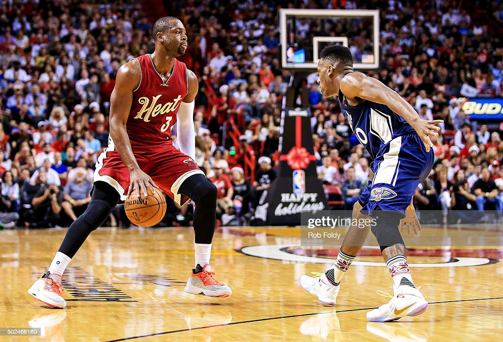 Dwyane Wade #3 of the Miami Heat in action during the game against the New Orleans Pelicans at American Airlines Arena on December 25, 2015 in Miami, Florida.