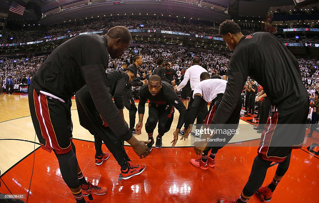 <a gi-track='captionPersonalityLinkClicked' href=/galleries/search?phrase=Dwyane+Wade&family=editorial&specificpeople=201481 ng-click='$event.stopPropagation()'>Dwyane Wade</a> #3 of the Miami Heat is introduced as he takes to the court to face the Toronto Raptors during Game Two of the NBA Eastern Conference Semi Finals at Air Canada Centre on May 5, 2016 in Toronto, Ontario, Canada.