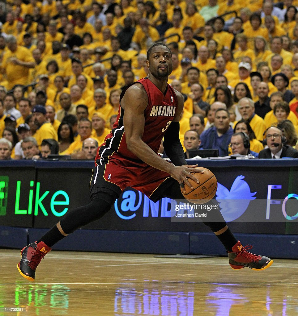 <a gi-track='captionPersonalityLinkClicked' href=/galleries/search?phrase=Dwyane+Wade&family=editorial&specificpeople=201481 ng-click='$event.stopPropagation()'>Dwyane Wade</a> #3 of the Miami Heat moves against the Indiana Pacers in Game Three of the Eastern Conference Semifinals in the 2012 NBA Playoffs at Bankers Life Fieldhouse on May 17, 2012 in Indianapolis, Indiana. The Pacers defeated the Heat 94-75.