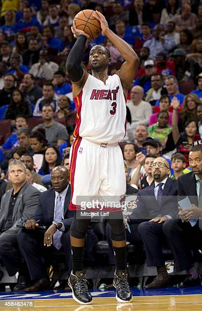 Dwyane Wade of the Miami Heat plays in the game against the Philadelphia 76ers on November 1 2014 at the Wells Fargo Center in Philadelphia...