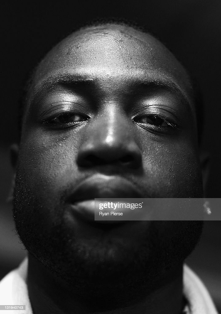 <a gi-track='captionPersonalityLinkClicked' href=/galleries/search?phrase=Dwyane+Wade&family=editorial&specificpeople=201481 ng-click='$event.stopPropagation()'>Dwyane Wade</a> of the Miami Heat poses during the 'Get The Edge' press conference at the Cook and Phillip Aquatic & Fitness Centre on November 9, 2011 in Sydney, Australia.