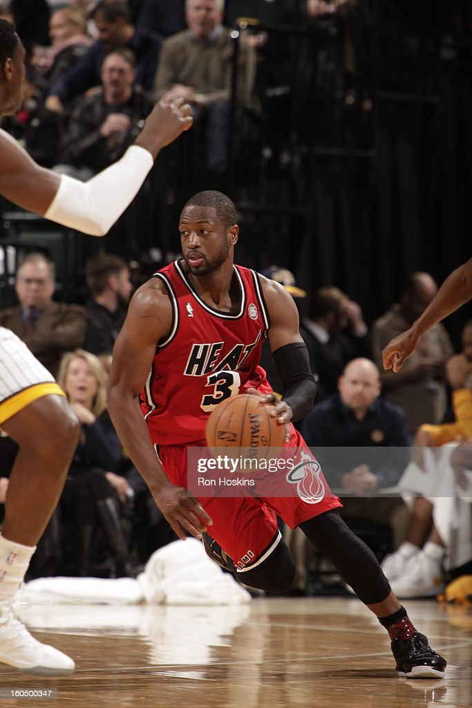 <a gi-track='captionPersonalityLinkClicked' href=/galleries/search?phrase=Dwyane+Wade&family=editorial&specificpeople=201481 ng-click='$event.stopPropagation()'>Dwyane Wade</a> #3 of the Miami Heat pushes the ball up the floor against the Indiana Pacers on February 1, 2013 at Bankers Life Fieldhouse in Indianapolis, Indiana.