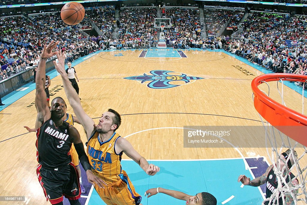 <a gi-track='captionPersonalityLinkClicked' href=/galleries/search?phrase=Dwyane+Wade&family=editorial&specificpeople=201481 ng-click='$event.stopPropagation()'>Dwyane Wade</a> #3 of the Miami Heat puts up a shot against the New Orleans Hornets on March 29, 2013 at the New Orleans Arena in New Orleans, Louisiana.