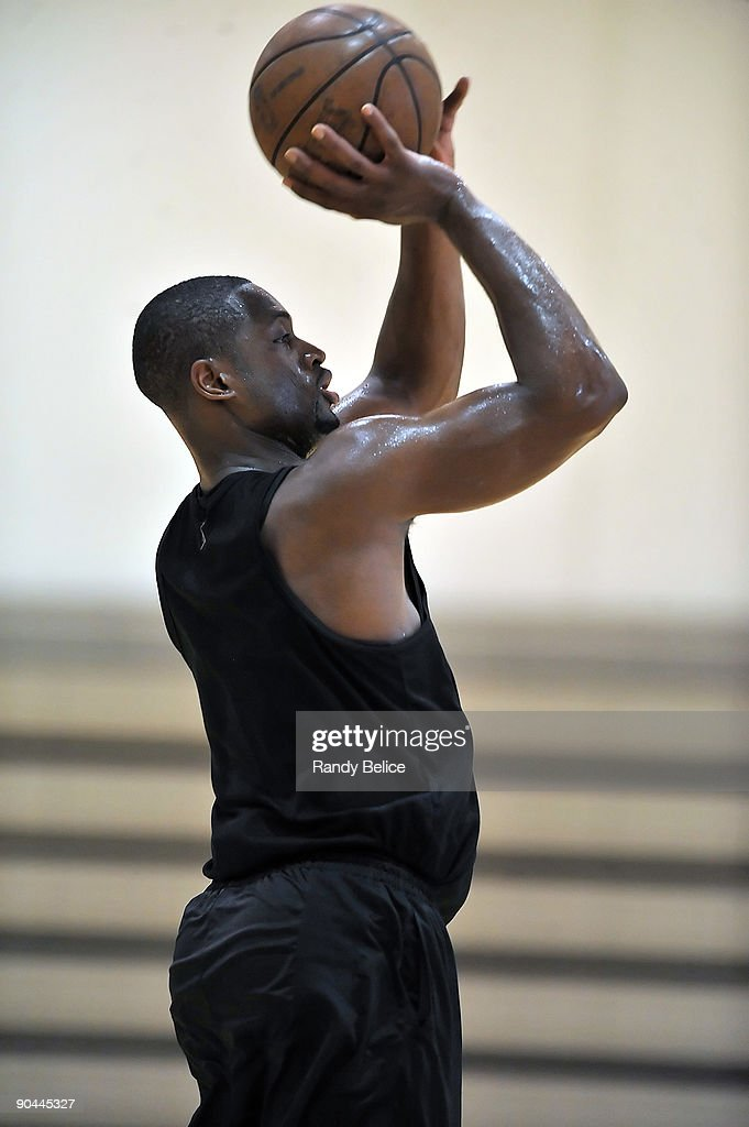 Dwyane Wade of the Miami Heat puts up a shot during the shoot around portion of his workout on September 8, 2009 at ATTACK Athletics in Chicago, Illinois.