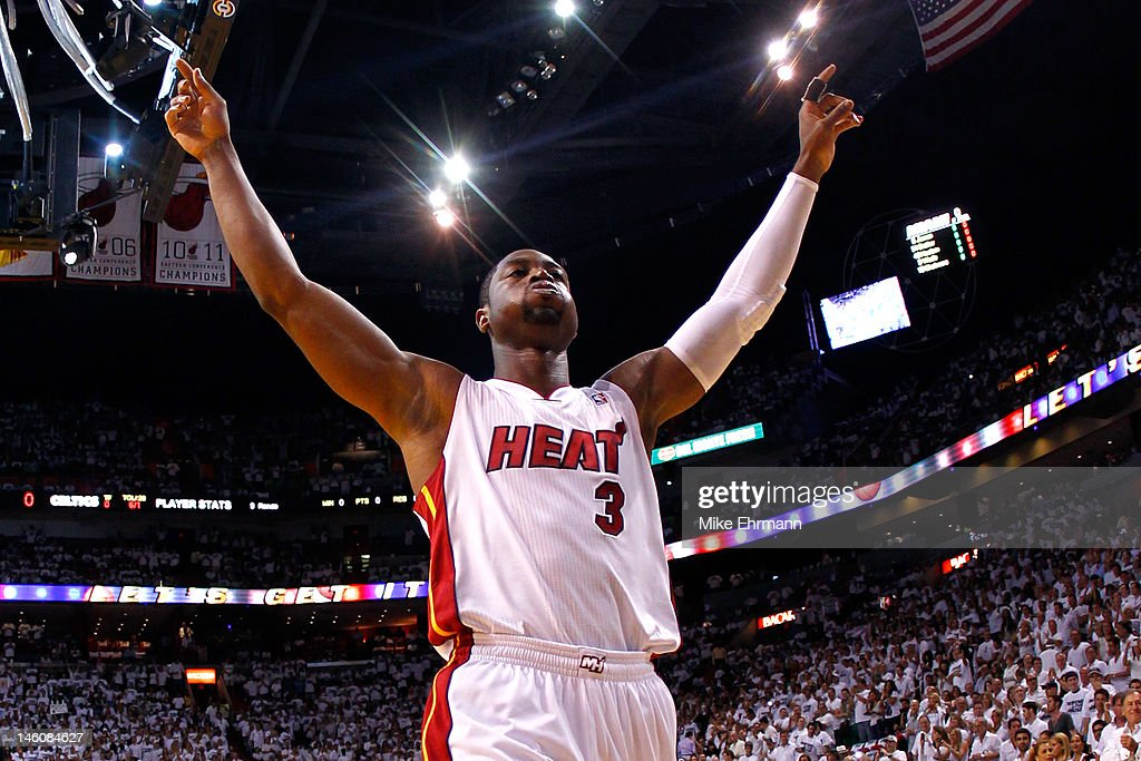 <a gi-track='captionPersonalityLinkClicked' href=/galleries/search?phrase=Dwyane+Wade&family=editorial&specificpeople=201481 ng-click='$event.stopPropagation()'>Dwyane Wade</a> #3 of the Miami Heat reacts before taking on the Boston Celtics in Game Seven of the Eastern Conference Finals in the 2012 NBA Playoffs on June 9, 2012 at American Airlines Arena in Miami, Florida.