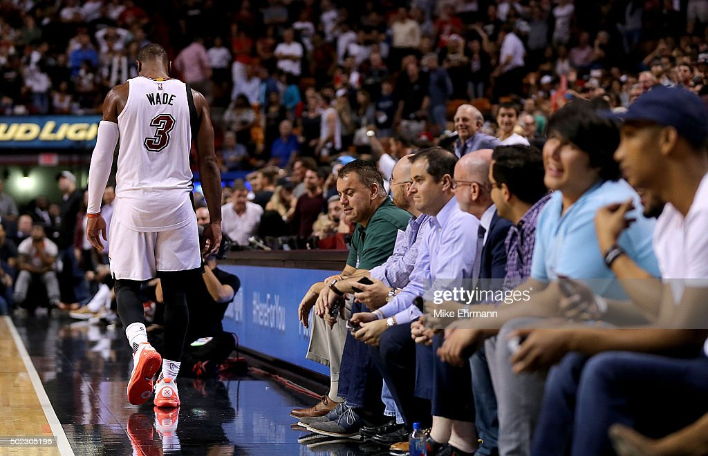<a gi-track='captionPersonalityLinkClicked' href=/galleries/search?phrase=Dwyane+Wade&family=editorial&specificpeople=201481 ng-click='$event.stopPropagation()'>Dwyane Wade</a> #3 of the Miami Heat reacts to missing a shot during a game against the Detroit Pistons at American Airlines Arena on December 22, 2015 in Miami, Florida.
