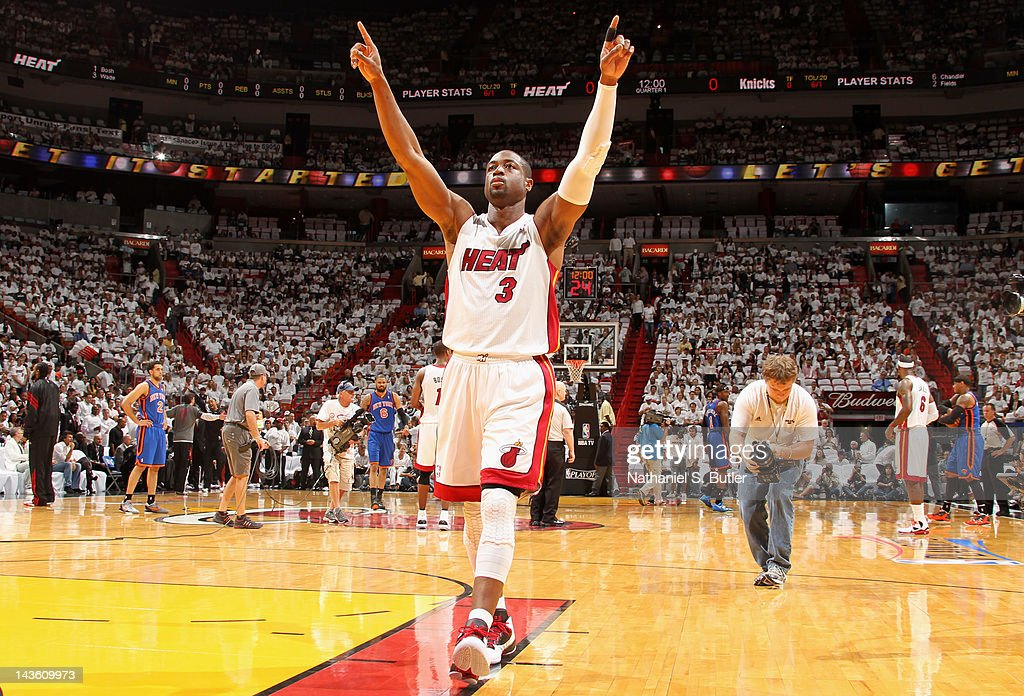 Dwyane Wade #3 of the Miami Heat reacts to the crowd in Game Two of the Eastern Conference Quarterfinals against the New York Knicks during the 2012 NBA Playoffs on April 30, 2012 at American Airlines Arena in Miami, Florida.