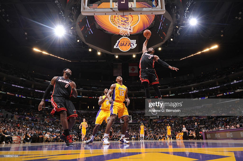 Dwyane Wade #3 of the Miami Heat rises for a dunk against the Los Angeles Lakers at Staples Center on January 15, 2013 in Los Angeles, California.