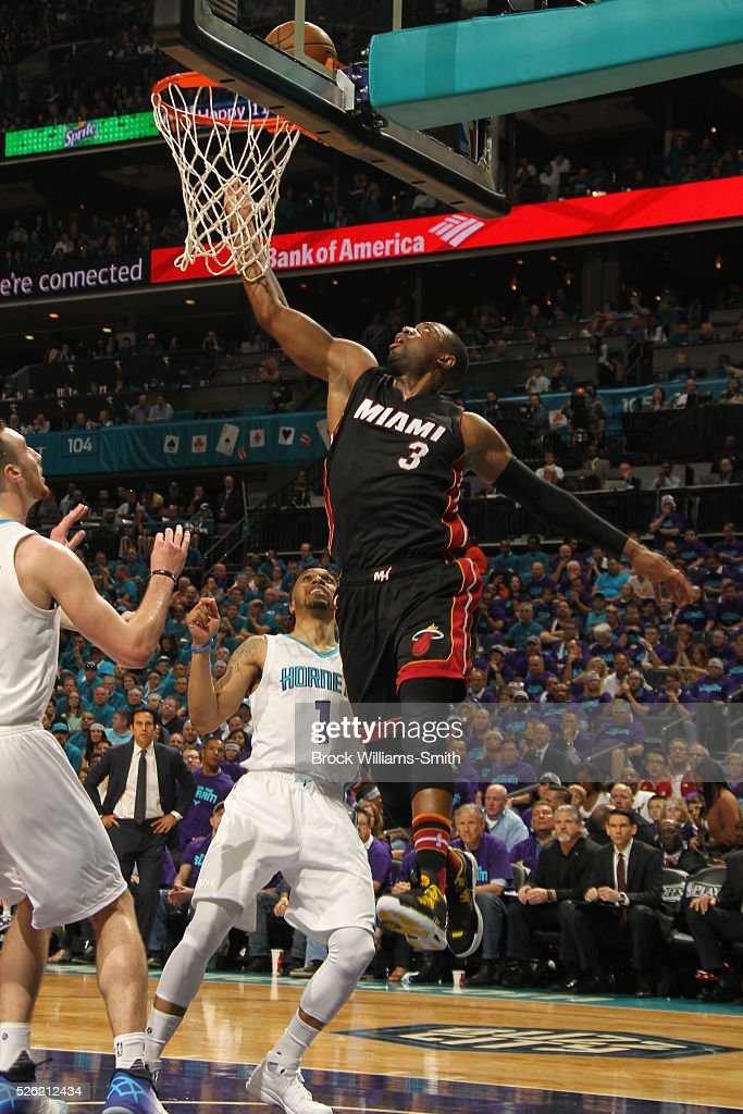 <a gi-track='captionPersonalityLinkClicked' href=/galleries/search?phrase=Dwyane+Wade&family=editorial&specificpeople=201481 ng-click='$event.stopPropagation()'>Dwyane Wade</a> #3 of the Miami Heat shoots against the Charlotte Hornets in Game Six of the Eastern Conference Quarterfinals during the 2016 NBA Playoffs on April 29, 2016 at Time Warner Cable Arena in Charlotte, North Carolina.