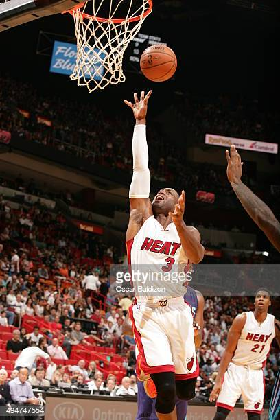 Dwyane Wade of the Miami Heat shoots against the Charlotte Hornets on October 28 2015 at AmericanAirlines Arena in Miami Florida NOTE TO USER User...