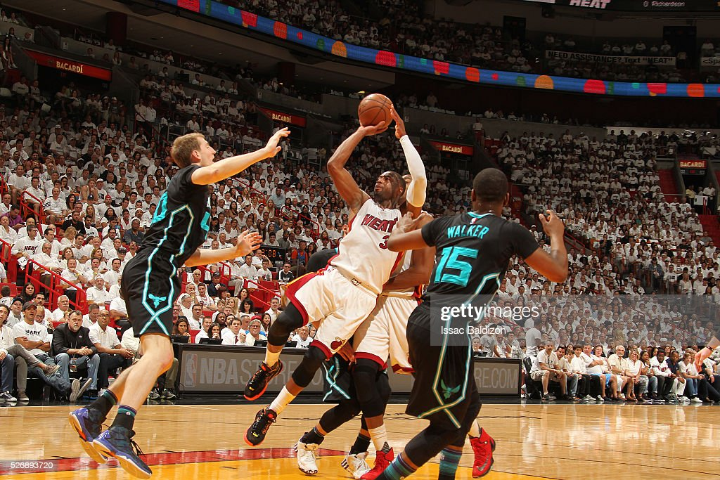 Dwyane Wade #3 of the Miami Heat shoots the ball against the Charlotte Hornets in Game Seven of the Eastern Conference Quarterfinals during the 2016 NBA Playoffs on May 1, 2016 at American Airlines Arena in Miami, Florida.