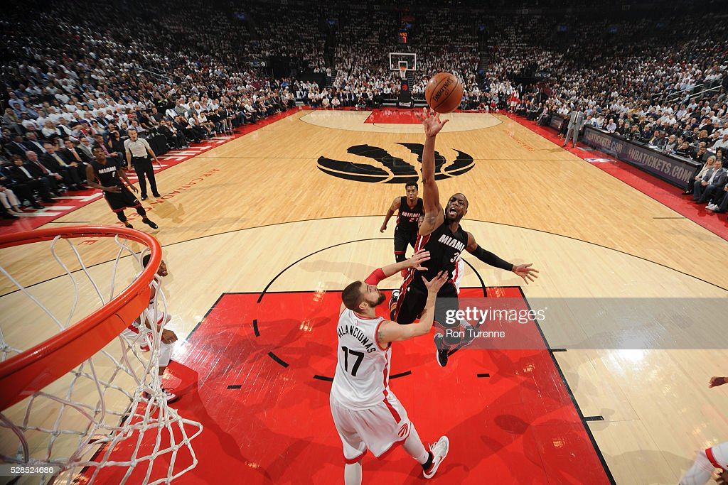 Dwyane Wade #3 of the Miami Heat shoots the ball against the Toronto Raptors in Game Two of the Eastern Conference Semifinals on May 5, 2016 at the Air Canada Centre in Toronto, Ontario, Canada.