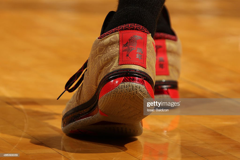 <a gi-track='captionPersonalityLinkClicked' href=/galleries/search?phrase=Dwyane+Wade&family=editorial&specificpeople=201481 ng-click='$event.stopPropagation()'>Dwyane Wade</a> #3 of the Miami Heat showcases his shoes against the Oklahoma City Thunder at the American Airlines Arena in Miami, Florida on Jan. 29, 2014.