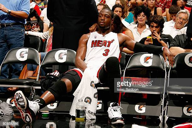 Dwyane Wade of the Miami Heat sits on the bench during the game against the Chicago Bulls on November 1 2009 at American Airlines Arena in Miami...