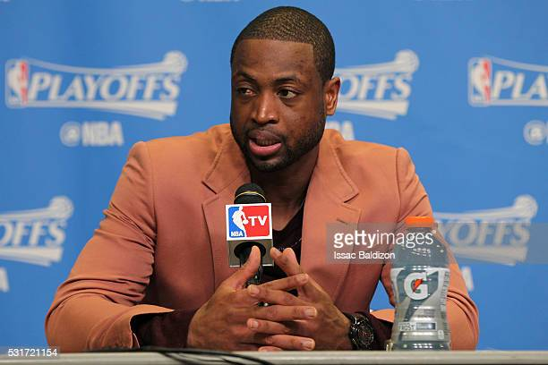 Dwyane Wade of the Miami Heat speaks at a press conference after Game Six of the Eastern Conference Semifinals against the Toronto Raptors during the...
