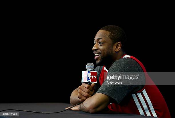 Dwyane Wade of the Miami Heat speaks to the media before practice on an off day following Game One of the 2014 NBA Finals against the San Antonio...