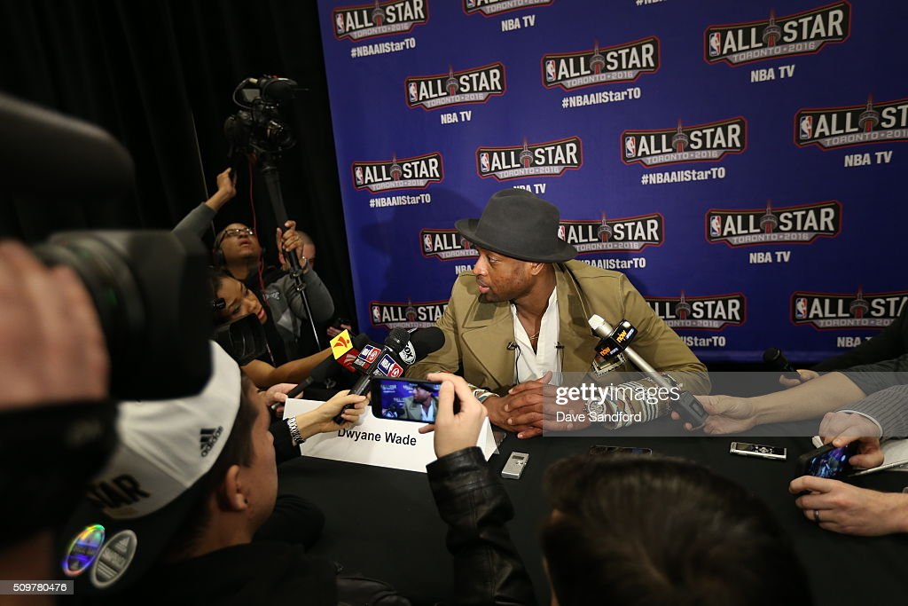 Dwyane Wade #3 of the Miami Heat speaks to the media during media availability as part of 2016 NBA All-Star Weekend at the Sheraton Centre Toronto Hotel on February 12, 2016 in Toronto, Ontario, Canada.