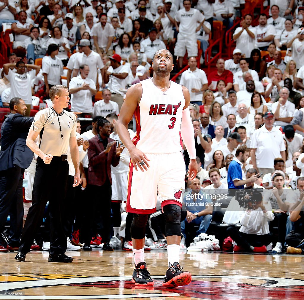 <a gi-track='captionPersonalityLinkClicked' href=/galleries/search?phrase=Dwyane+Wade&family=editorial&specificpeople=201481 ng-click='$event.stopPropagation()'>Dwyane Wade</a> #3 of the Miami Heat stands on the court against the Charlotte Hornets in Game Seven of the Eastern Conference Quarterfinals during the 2016 NBA Playoffs on May 1, 2016 at American Airlines Arena in Miami, Florida.
