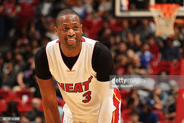 Dwyane Wade of the Miami Heat stands on the court during the game against the Atlanta Hawks on January 31 2016 at American Airlines Arena in Miami...