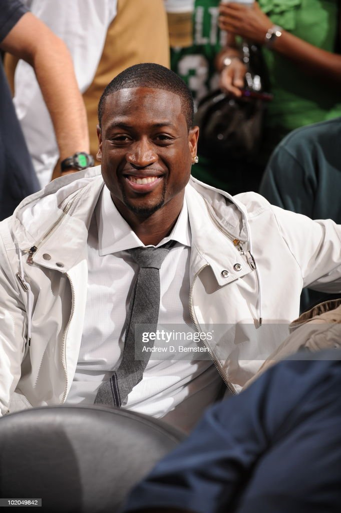 <a gi-track='captionPersonalityLinkClicked' href=/galleries/search?phrase=Dwyane+Wade&family=editorial&specificpeople=201481 ng-click='$event.stopPropagation()'>Dwyane Wade</a> of the Miami Heat takes in the game of the Los Angeles Lakers against the Boston Celtics in Game Five of the 2010 NBA Finals on June 13, 2010 at TD Garden in Boston, Massachusetts.