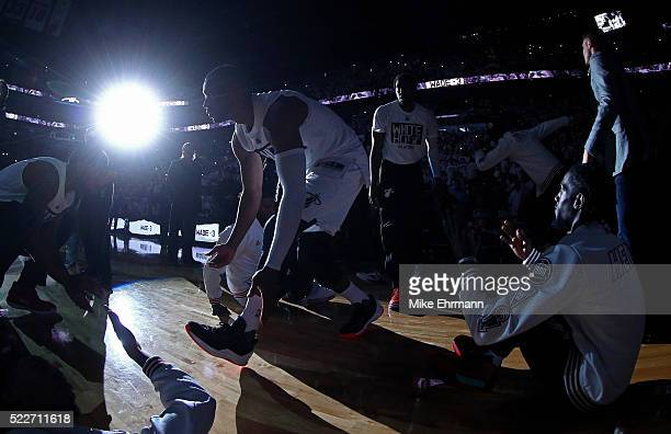 Dwyane Wade of the Miami Heat takes the floor during game two of the Eastern Conference Quarterfinals of the 2016 NBA Playoffs against the Charlotte...