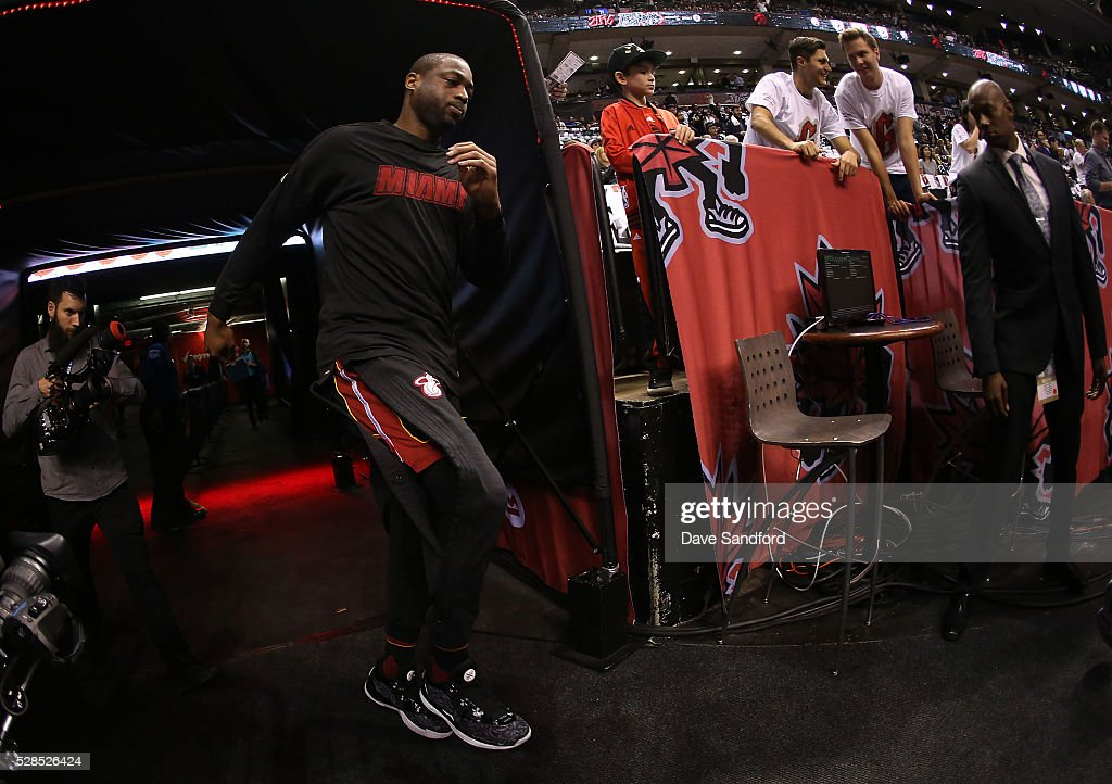 Dwyane Wade #3 of the Miami Heat takes to the court to face the Toronto Raptors during GAME TWO of the Eastern Conference Semi Finals at Air Canada Centre on May 5, 2016 in Toronto, Ontario, Canada.