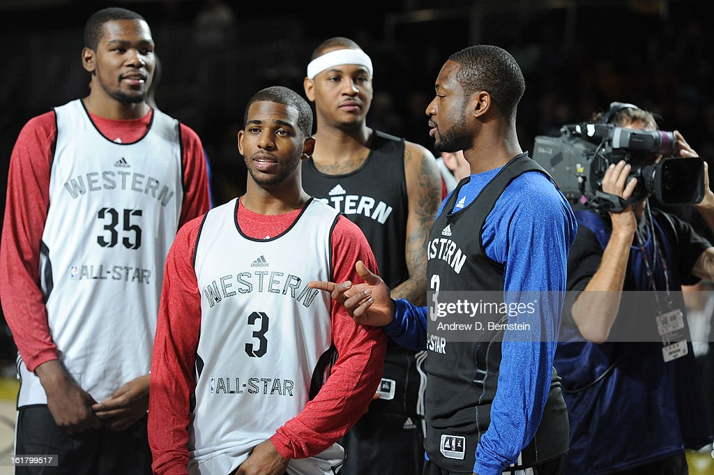 Dwyane Wade #3 of the Miami Heat talks with Chris Paul #3 of the Los Angeles Clippers during the NBA All-Star Practice in Sprint Arena at Jam Session at Jam Session during NBA All Star Weekend on February 16, 2013 at the George R. Brown Convention Center in Houston, Texas.