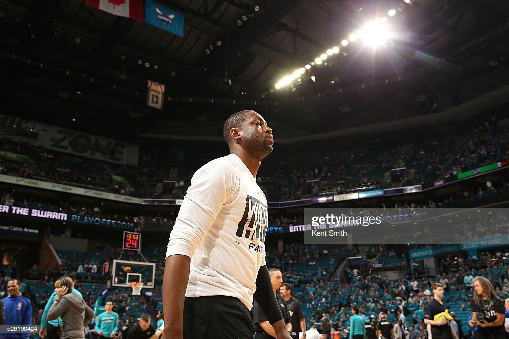 <a gi-track='captionPersonalityLinkClicked' href=/galleries/search?phrase=Dwyane+Wade&family=editorial&specificpeople=201481 ng-click='$event.stopPropagation()'>Dwyane Wade</a> #3 of the Miami Heat warms up before Game Six of the Eastern Conference Quarterfinals against the Charlotte Hornets during the 2016 NBA Playoffs on April 29, 2016 at Time Warner Cable Arena in Charlotte, North Carolina.