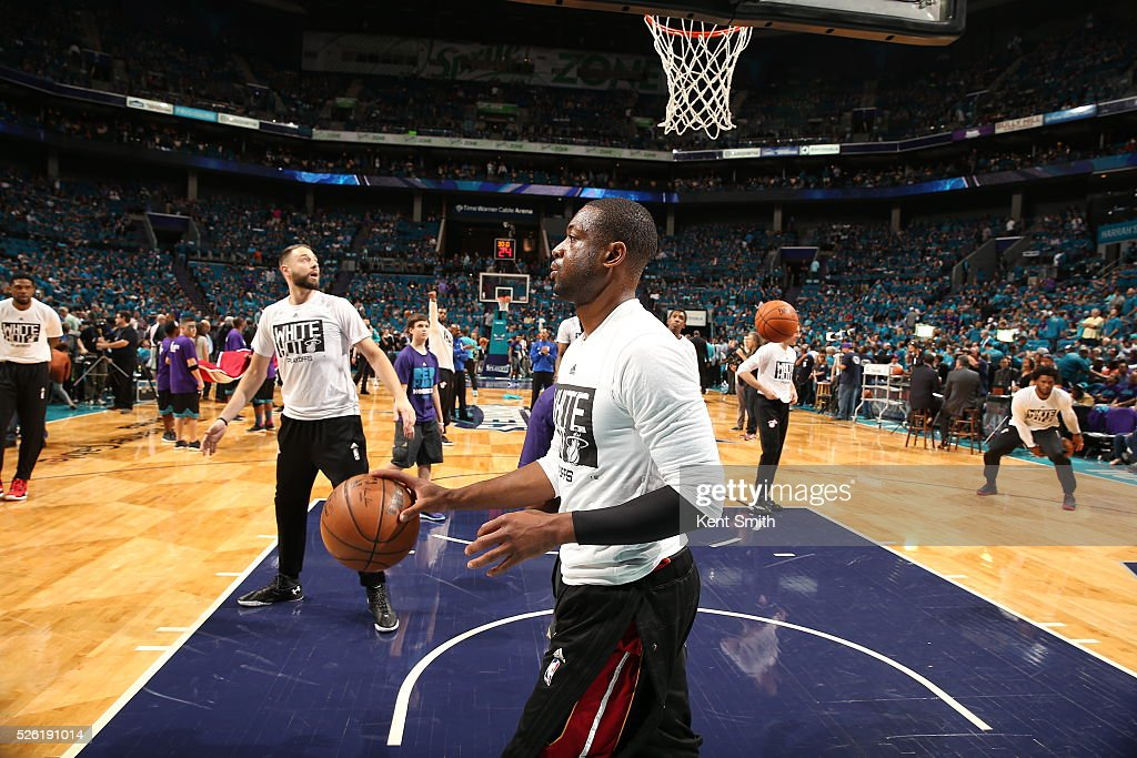 <a gi-track='captionPersonalityLinkClicked' href=/galleries/search?phrase=Dwyane+Wade&family=editorial&specificpeople=201481 ng-click='$event.stopPropagation()'>Dwyane Wade</a> #3 of the Miami Heat warms up before the game against the Charlotte Hornets in Game Six of the Eastern Conference Quarterfinals during the 2016 NBA Playoffs on April 29, 2016 at Time Warner Cable Arena in Charlotte, North Carolina.