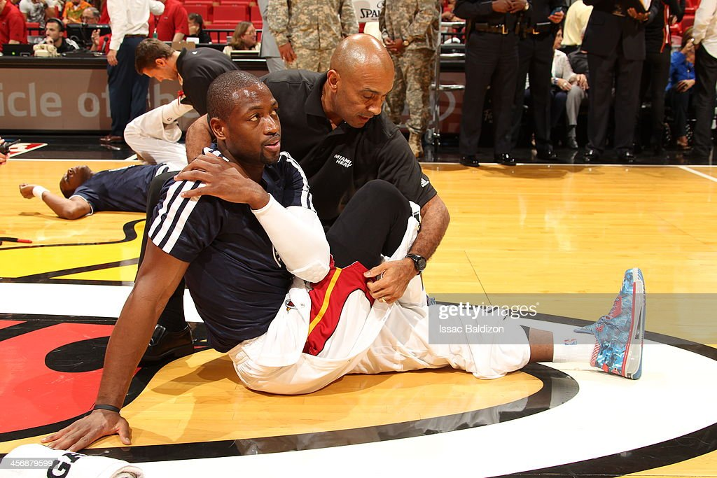 <a gi-track='captionPersonalityLinkClicked' href=/galleries/search?phrase=Dwyane+Wade&family=editorial&specificpeople=201481 ng-click='$event.stopPropagation()'>Dwyane Wade</a> #3 of the Miami Heat warms-up against the Boston Celtics on November 9, 2013 at American Airlines Arena in Miami, Florida.