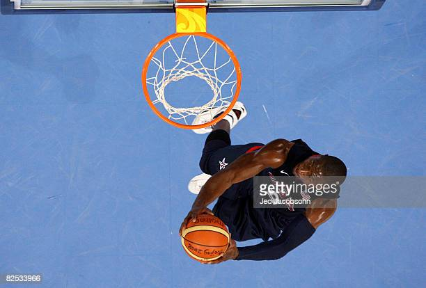 Dwyane Wade of the United States goes up for a slam dunk in the gold medal game during Day 16 of the Beijing 2008 Olympic Games at the Beijing...