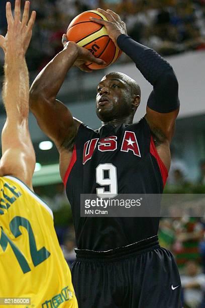 Dwyane Wade of the USA Basketball Men's Senior National Team shoots against Glen Saville of the Australia National Team during the USA Basketball...