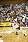 Dwyane Wade of the USA Basketball Senior Men's National Team shoots against China on August 20 2006 at the at the Hokkaido Perfectual Sports Center...