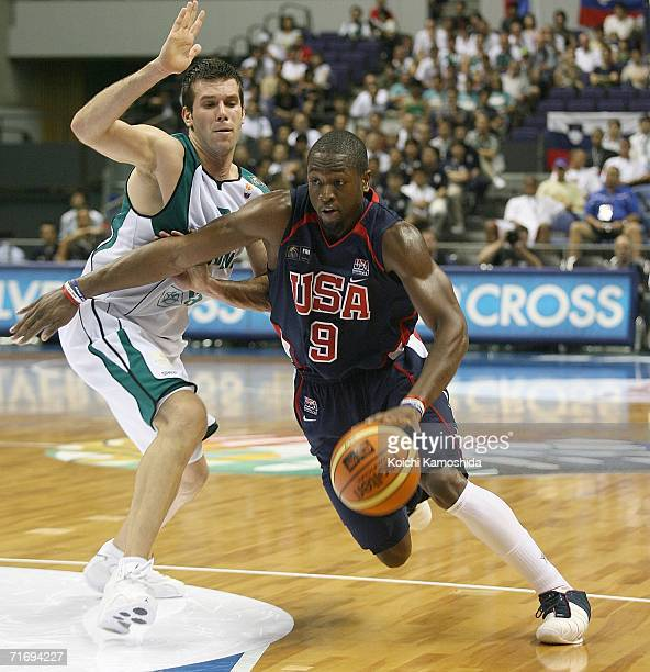 Dwyane Wade of the USA Basketball Team drives against Slovenia during the preliminary round of FIBA World Championships 2006 on August 22 2006 in...