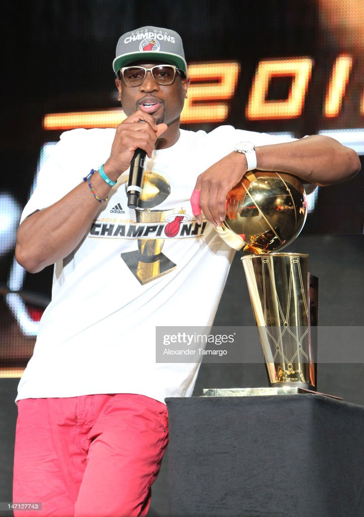 <a gi-track='captionPersonalityLinkClicked' href=/galleries/search?phrase=Dwyane+Wade&family=editorial&specificpeople=201481 ng-click='$event.stopPropagation()'>Dwyane Wade</a> participates in the Miami Heat 2012 NBA Championship Celebration at AmericanAirlines Arena on June 25, 2012 in Miami, Florida.