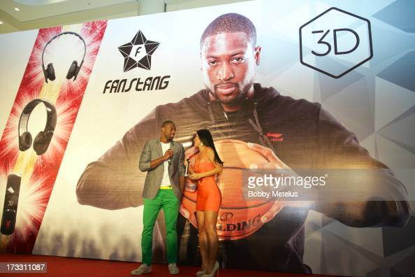 Dwyane Wade speaks on stage at his 3D Headphones Launch Event presented by Fanstang at InTime Mall on July 11 2013 in Hangzhou China