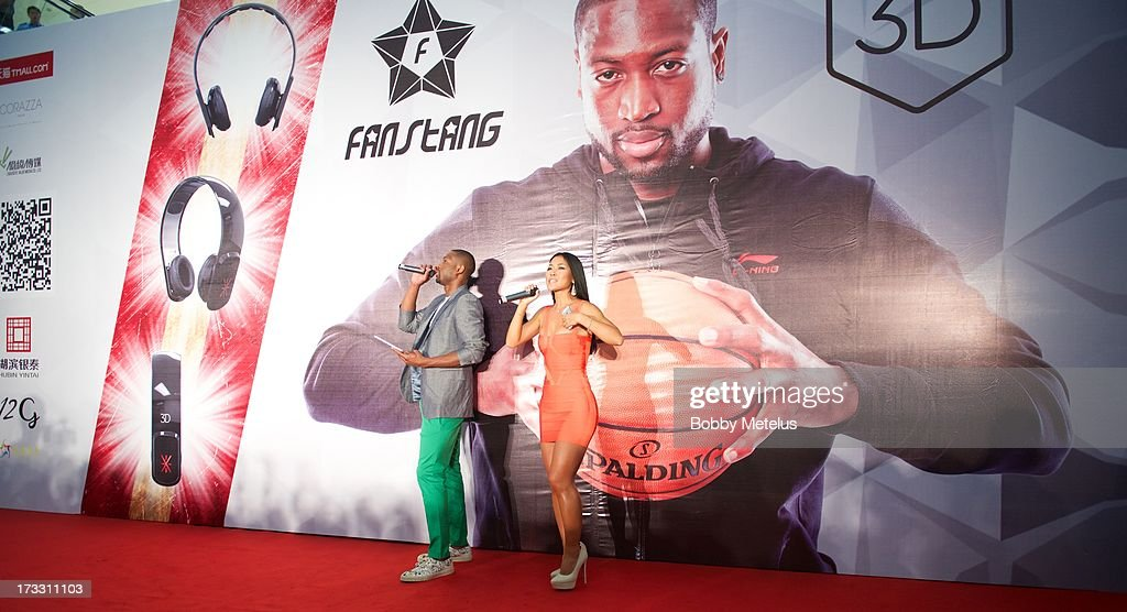 Dwyane Wade speaks on stage at his 3-D Headphones Launch Event presented by Fanstang at InTime Mall on July 11, 2013 in Hangzhou, China.