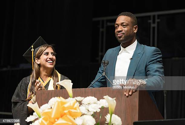 Dwyane Wade surprises a student during the Western High School Graduation ceremony on June 4 2015 in Davie Florida