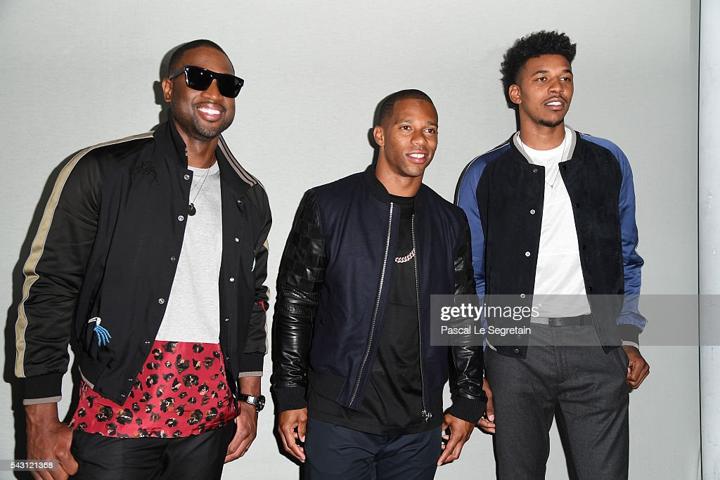 <a gi-track='captionPersonalityLinkClicked' href=/galleries/search?phrase=Dwyane+Wade&family=editorial&specificpeople=201481 ng-click='$event.stopPropagation()'>Dwyane Wade</a>,Victor Cruz and Nick Young attend the Lanvin Menswear Spring/Summer 2017 show as part of Paris Fashion Week on June 26, 2016 in Paris, France.